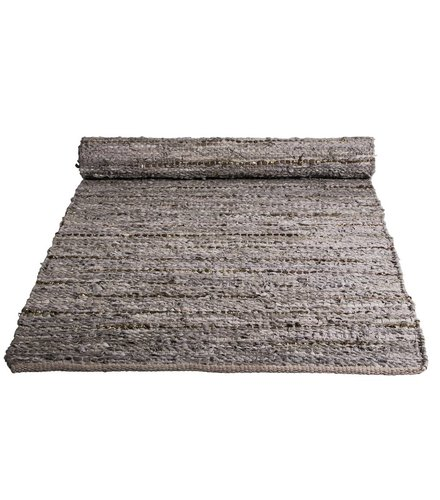 Broste Copenhagen Rug Hugh grey/copper leather - Broste Copenhagen