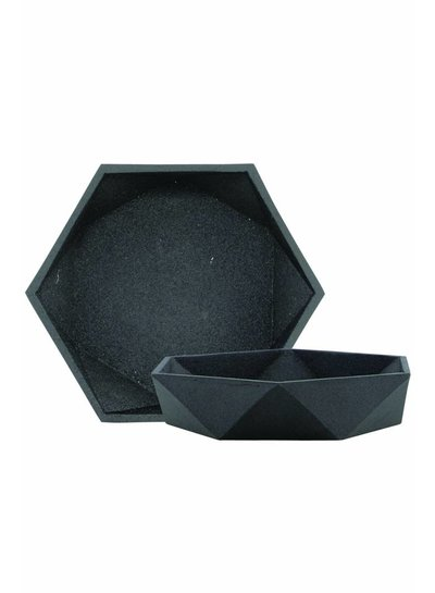 House Doctor Schaal | Bowl geometry, textured black