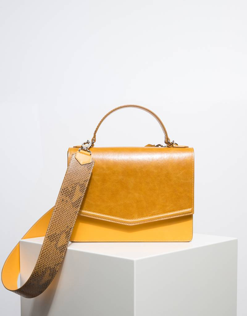 Fan Handbag Mustard Yellow