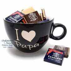 Zwarte Mok 'I love Papa' Napolitains 250g