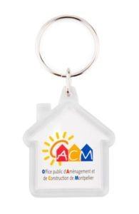 Plastic sleutelhanger Huis vanaf
