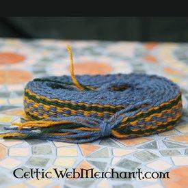 Woollen belt, blue - yellow - green