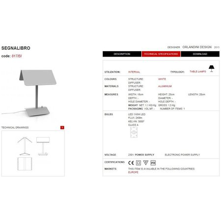 Martinelli Luce LED Table Lamp SEGNALIBRO - L 18 x 20 H 25 - WHITE