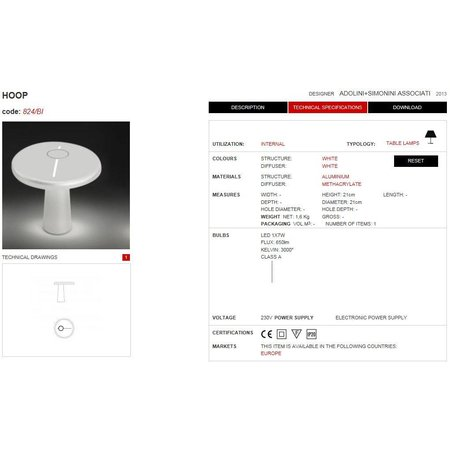 Martinelli Luce LED Table Lamp HOOP - ∅ 21,5 H 21 - WHITE