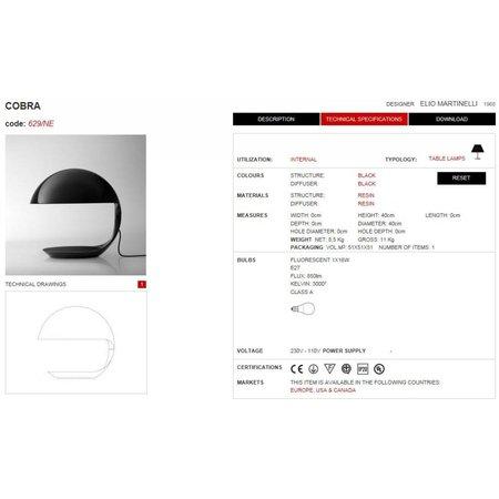 Martinelli Luce Table Lamp COBRA - Black