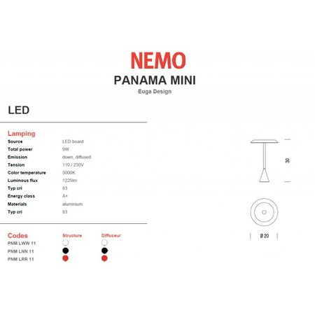 Nemo LED Table lamp - Panama mini - Red