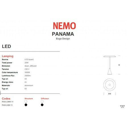 Nemo LED Table lamp - Panama  - Black