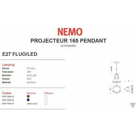 Nemo Hanging Lamp - Projecteur 165 - dia 17 - Night Blue
