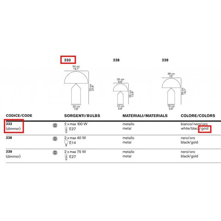 Oluce Table lamp - Atollo 233 / OR - Gold