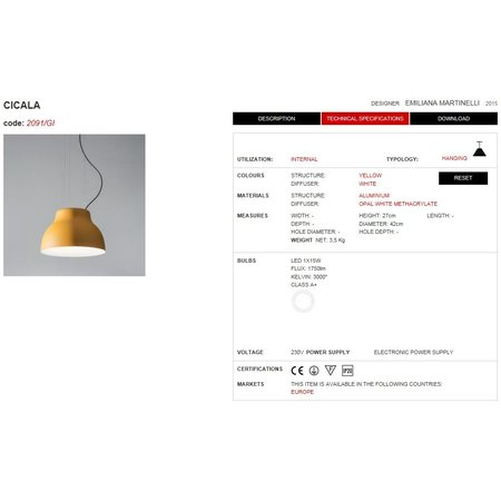Martinelli Luce LED Hanging lamp CICALA - YELLOW
