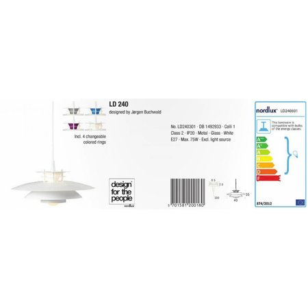Nordlux LD 240 - Hanglamp - Wit