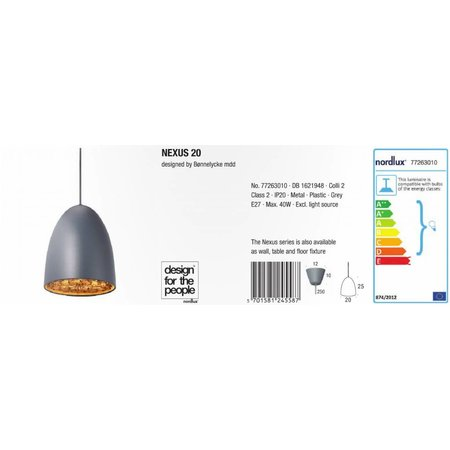 Nordlux Hanging lamp Nexus 20 - Gray