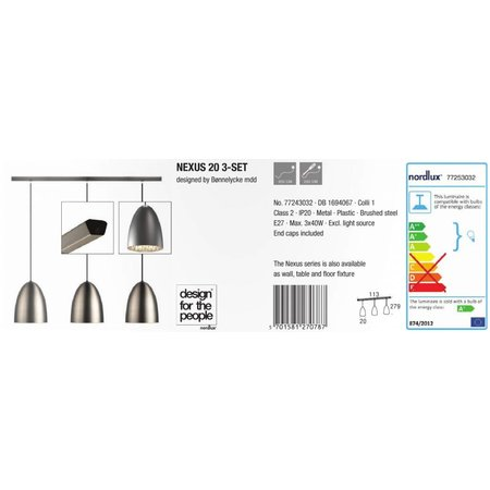 Nordlux Hanging lamp Nexus 20 set - Gray