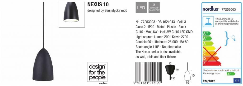 nordlux nexus 10 hanglamp zwart duurk. Black Bedroom Furniture Sets. Home Design Ideas
