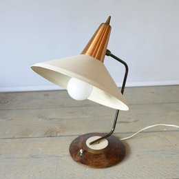 Vintage Table Lamp - WHITE-Brown - possibly Anvia