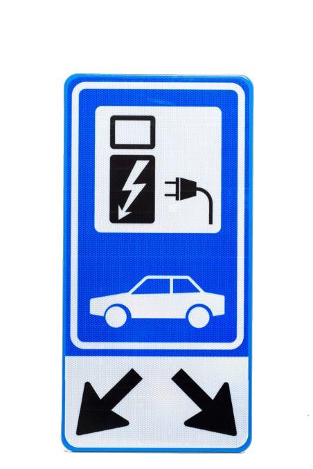 Opties Verkeersbord Opladen Elektrische Auto Laadpaal Direct