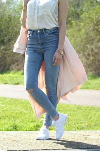 high waist ripped jeans michael kors combo