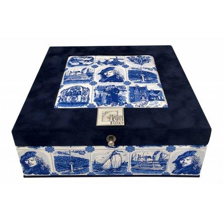 TDTB Theedoos souvenir Delfts blauw Rembrandt 9-vaks