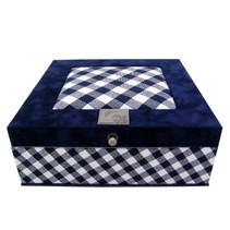 Theedoos boerenbont blauw wit 9-vaks