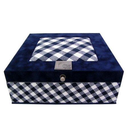 The Dutch Tea Box Theedoos boerenbont blauw wit geruit met 9 vakken