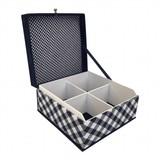 The Dutch Tea Box Theedoos blauw wit geruit 4-vaks