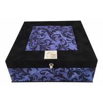 Theedoos zwart blauw ornament 9-vaks