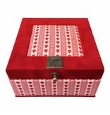 The Dutch Tea Box Theedoos rood wit Zeeuwse stof 4 vaks