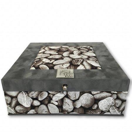 The Dutch Tea Box Theedoos kiezelstenen grijs 9 vaks