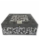 The Dutch Tea Box Theedoos Lotus grijs met 9 vakken