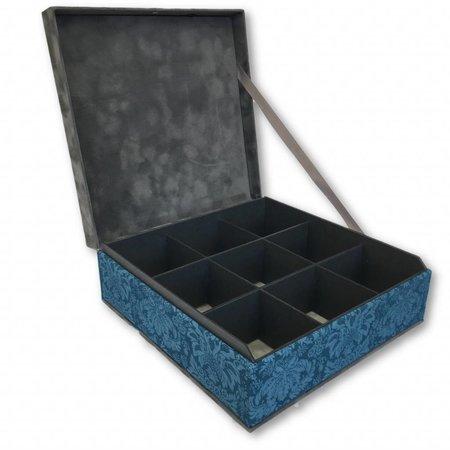TDTB Theedoos blauw groen  grijs met 9 vakken