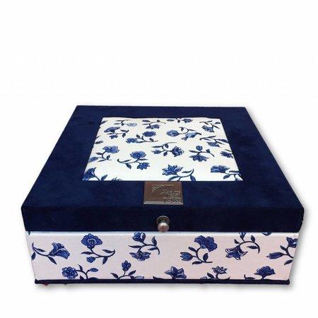 The Dutch Tea Box Theedoos Delfts blauwe sitsen met 9 vakken