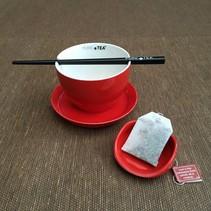 Pure Tea theekop rood  4 delig