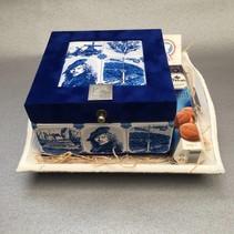 Theedoos Souvenir  4-vaks Blauw