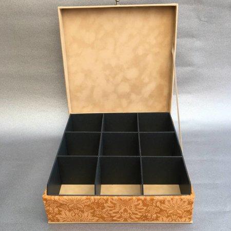 The Dutch Tea Box Tea box ocher yellow with 9 black compartments
