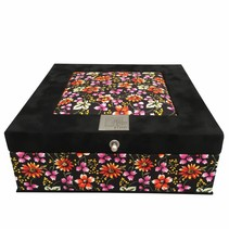 Tea box black flowered