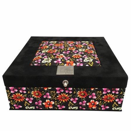 The Dutch Tea Box Tea box black flowered purple inside 9 compartments