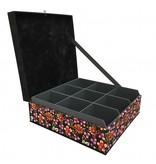 The Dutch Tea Box Theedoos zwart gebloemd roze paars met 9 vakken