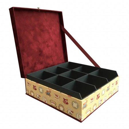 The Dutch Tea Box Tea box teacups and saucers bordeaux beige 9 compartments