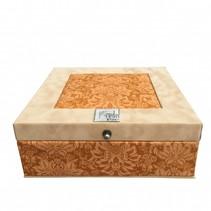 Tea box ocher yellow 9 compartments