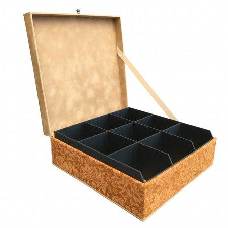 The Dutch Tea Box Theedoos okergeel zand met 9 zwarte vakken