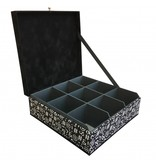 The Dutch Tea Box Theedoos zwart wit symbolen toetsenbord