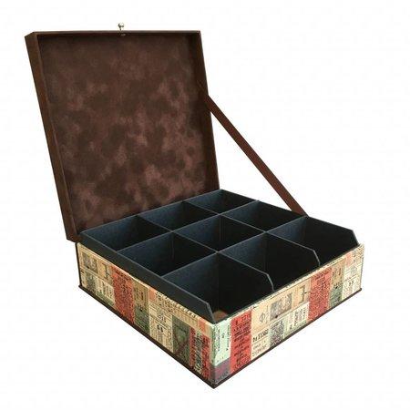 The Dutch Tea Box Theedoos bruin  vervoerkaartjes met 9 uitneembare vakken