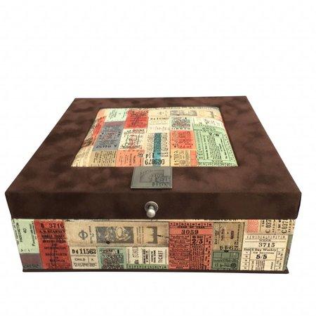 The Dutch Tea Box Tea box brown suede traveltickets 9 compartments