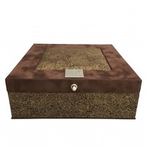 Tea box brown paisley gold