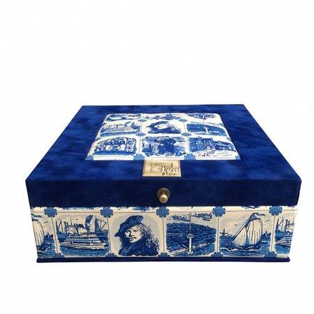 The Dutch Tea Box Theedoos souvenir royal blue Rembrandt met 9 vakken