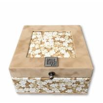 Tea box Lotus beige 4 compartments