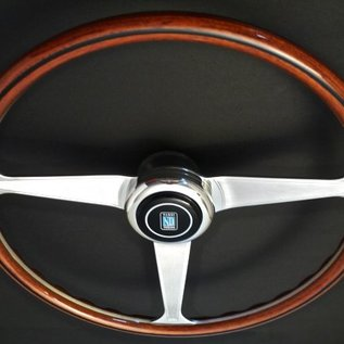 "Nardi ""Replica Line Anni 60"" wood + polished spokes 38 cms. steering wheel"