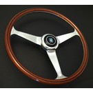 "Steering wheel Nardi ""Replica Line Anni 60"" wood + polished spokes 38 cms."