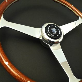 "Nardi ""Replica Line Anni 50"" wood + polished spokes 38 cms. steering wheel"