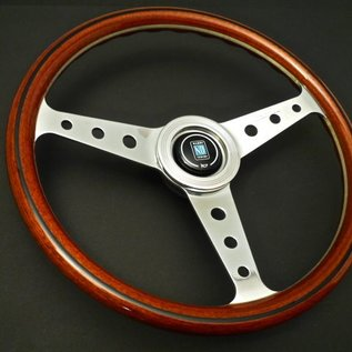 "Nardi ""Classic"" wood + polished spokes with holes 36 cms. steering wheel"